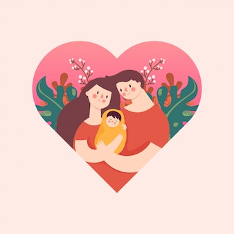 Madre e fathe hugging baby love emotion a floral heart