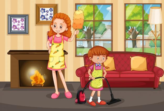 Madre e figlia pulizia casa