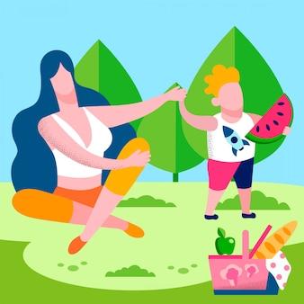 Madre e figlio che camminano nell'illustrazione piana del parco