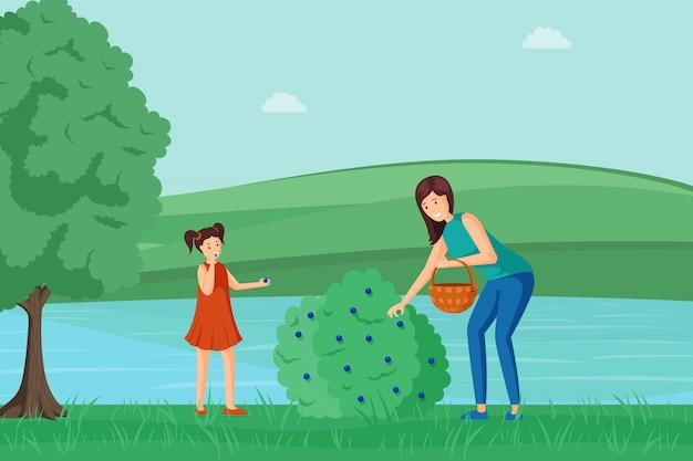 Madre, illustrazione vettoriale di mirtilli raccolta bambino