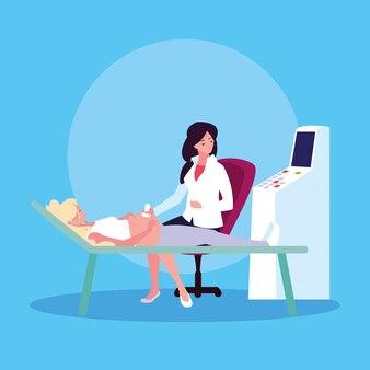 Madre in barella eseguendo ultrasuoni