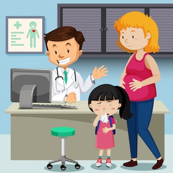 Madre incinta con la ragazza malata che incontra medico