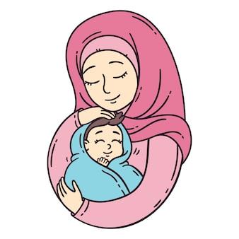 Madre musulmana che tiene bambino.