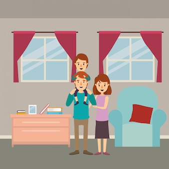 Madre padre e figlio in salotto