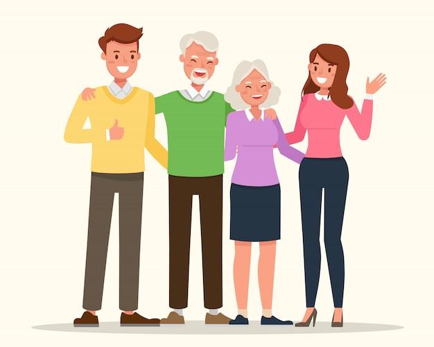 Madre, padre e nonni insieme.