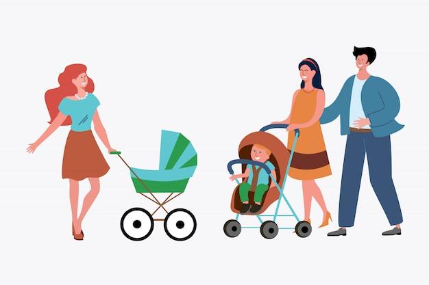 Madre single e coppia di sposi con figlio
