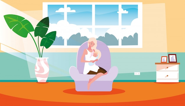 Madre sveglia che porta piccolo figlio dentro la casa
