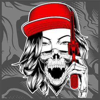 Mafia femminile che indossa un berretto con pistola