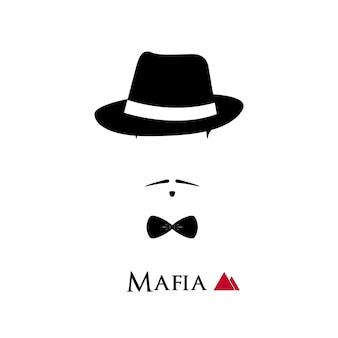 Mafioso italiano faccia su sfondo bianco.