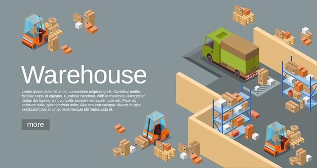 Magazzino 3d isometrico di trasporto logistico e veicoli di consegna.