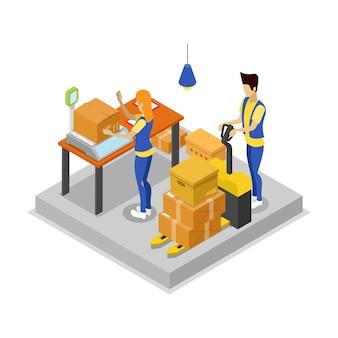 Magazzino con l'illustrazione isometrica 3d dei lavoratori