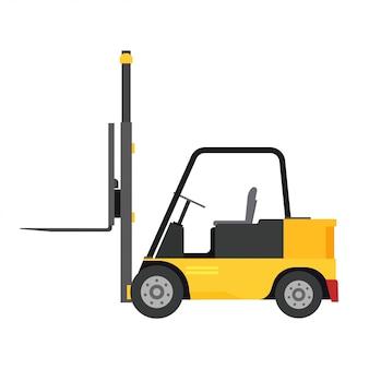Magazzino dell'attrezzatura dell'illustrazione di consegna di vista laterale del camion del carico di vettore del carrello elevatore.