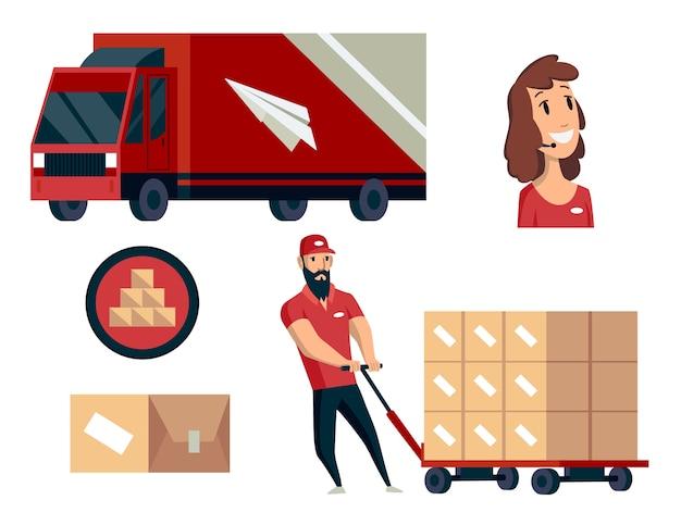 Magazzino. raccolta di illustrazioni di logistica.