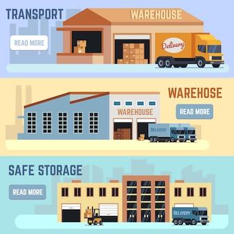 Magazzino, spedizione trasporto e consegna servizio banner orizzontale vettoriale impostato. illustrazione di distribuzione del servizio di magazzino. logistica e industria di stoccaggio.