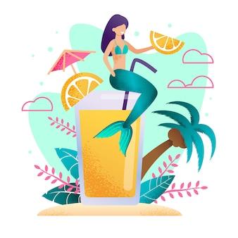 Magic mermaid advertising orange fresh cartoon