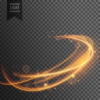 Magico effetto di luce dorata su backgorund trasparente
