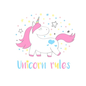 Magico unicorno carino in stile cartone animato con scritte a mano: regole unicorno.