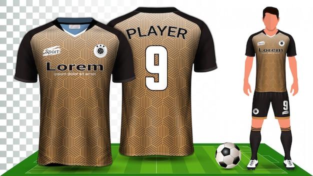 Maglia da calcio, maglia sportiva o kit da calcio presentazione uniforme.