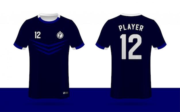 Maglia da calcio, modello anteriore e posteriore della maglia della squadra sportiva.
