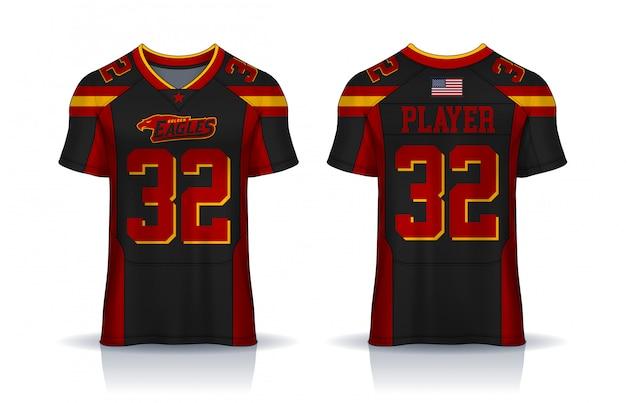 Maglia da football americano, modello di design sportivo t-shirt. vista frontale e posteriore uniformi.