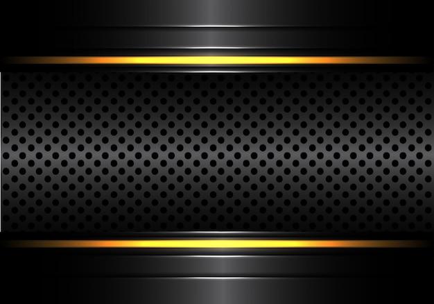Maglia metallica nera circolare con sfondo chiaro linea gialla