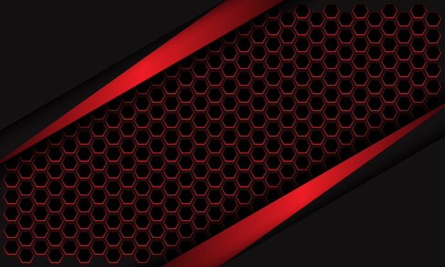Maglia metallica rossa astratta di esagono del triangolo sul fondo futuristico moderno di progettazione grigio scuro.