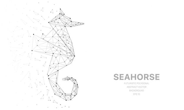 Maglia poligonale wireframe futuristica con cavalluccio marino