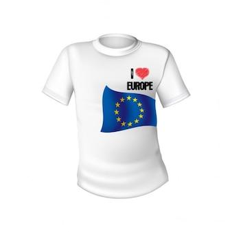 Maglietta bianca con la bandiera d'europa