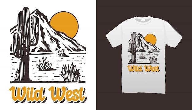Maglietta del deserto del selvaggio west