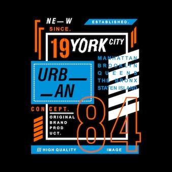 Maglietta del grafico di tipografia di progettazione di new york city