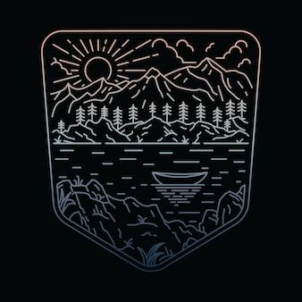 Maglietta dell'illustrazione della montagna della natura