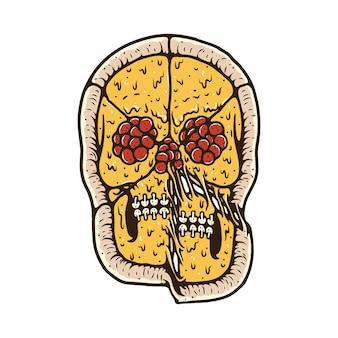 Maglietta dell'illustrazione di orrore del cranio dell'alimento della pizza