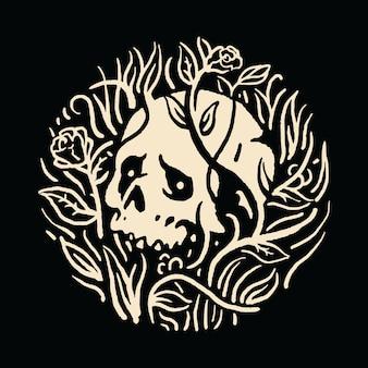 Maglietta di arte dell'illustrazione del fiore delle piante e del cranio