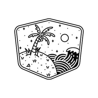 Maglietta di arte dell'illustrazione grafica della linea della spiaggia della natura di estate