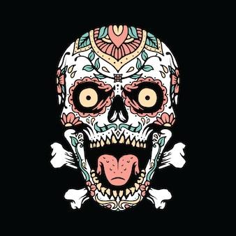 Maglietta di arte dell'illustrazione messicana dell'ornamento del cranio