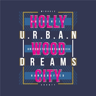 Maglietta di progettazione grafica vettoriale di hollywood city
