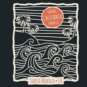 Maglietta di surf retrò spiaggia estiva della california con palme e onde dell'oceano