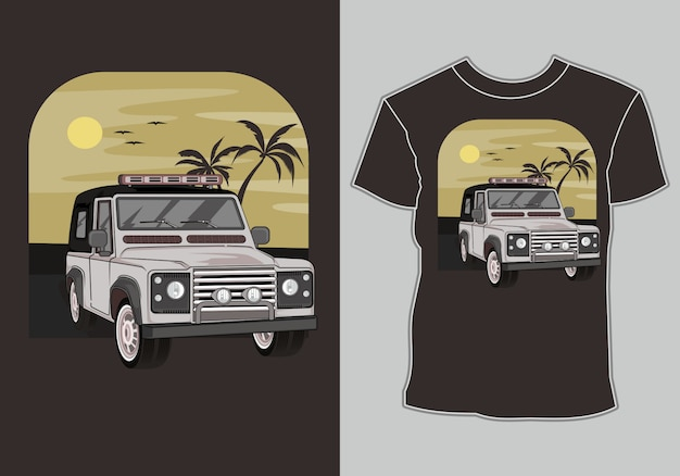 Maglietta estiva classica, vintage, auto retrò in spiaggia