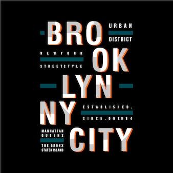 Maglietta grafica fresca di progettazione di vettore di brooklyn ny / città