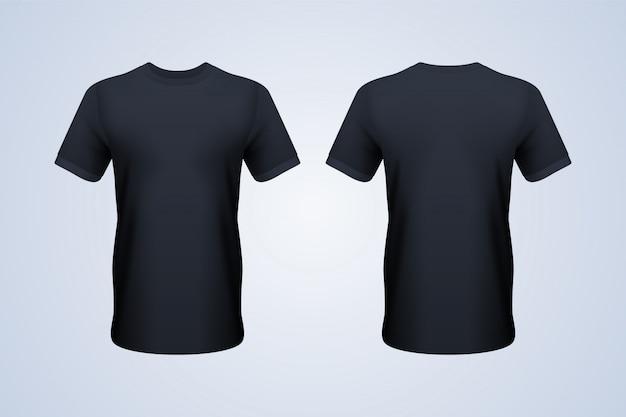 Maglietta nera anteriore e posteriore