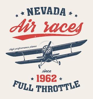 Maglietta nevada, stampa, tipografia, etichetta con vecchio aereo