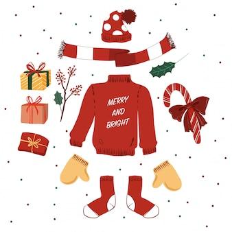 Maglione rosso carino ed elementi di natale inverno