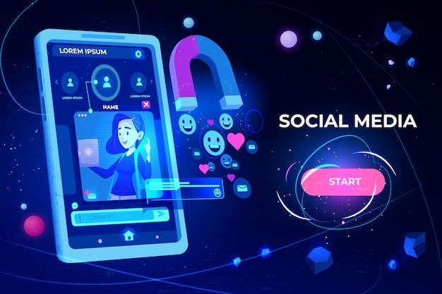 Magnete che attira mi piace, feedback e follower da smartphone con profilo di ragazza sulla pagina di destinazione dello schermo
