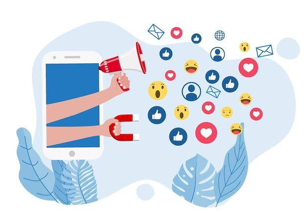 Magnete del marketing che coinvolge i follower.