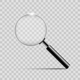 Magnifier d'argento realistico su sfondo trasparente