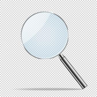 Magnifier trasparente realistico vettoriale.
