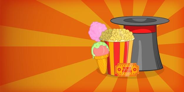 Mago di concetto di banner orizzontale circo. illustrazione del fumetto dell'insegna orizzontale di vettore del circo per il web