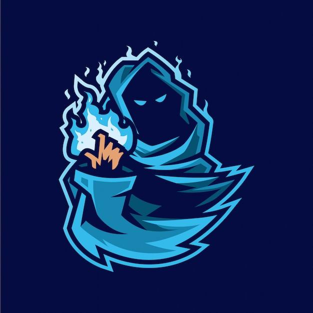 Mago esport mascotte logo e illustrazione