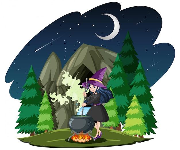 Mago o strega con pentola magica sulla foresta oscura isolata