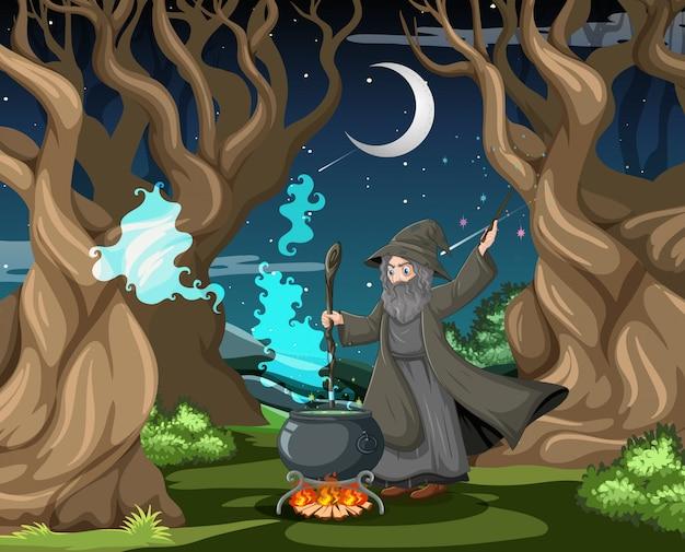 Mago o strega con vaso magico sulla scena della foresta oscura